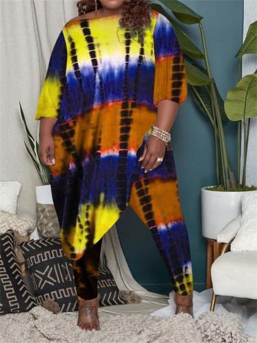 Fashion Two Pieces Set Contrast Color Loose Irregular Hem Tie Dye T-Shirt