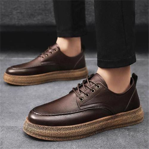 Men's Stylish Low-Top Front Lace-Up Fastening Flat Sole Leather Shoes