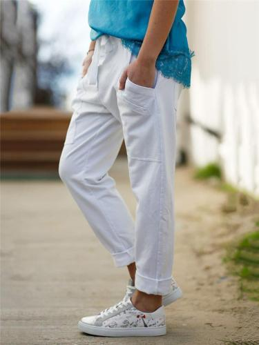 Casual Style Taper Fit Drawstring Solid Color Multi-Pocket Pants