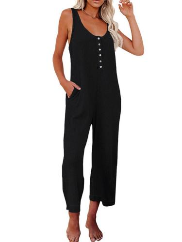 Sleeveless Buttoned Pocket Women's Casual Wide-Leg Jumpsuit