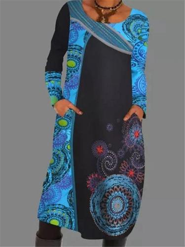 Retro Bohemian Print Loose Pullover Long Sleeve Pocket Dress