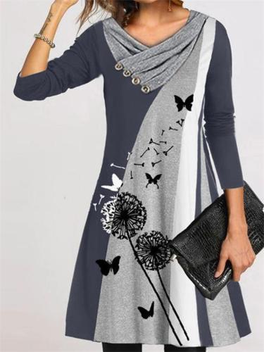 Long Sleeve Dandelion Print Mid-Waist V-Neck Pullover Retro Dress