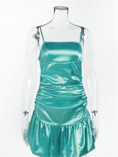 Spearmint Green Satin Dress Sexy Pleated Cocktail Dress