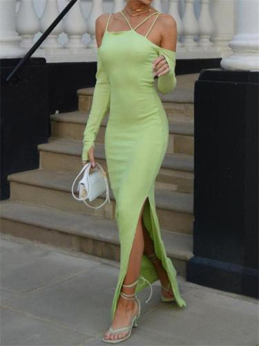 Spearmint Green Dress Sexy Slit Slim Maxi Cocktail Dress