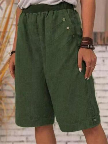Loose Button-Decorated Elastic Waist Straight Linen Shorts