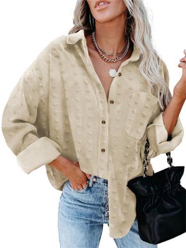 Jacquard Lapel Long Sleeve Buttoned Loose Chiffon Blouse