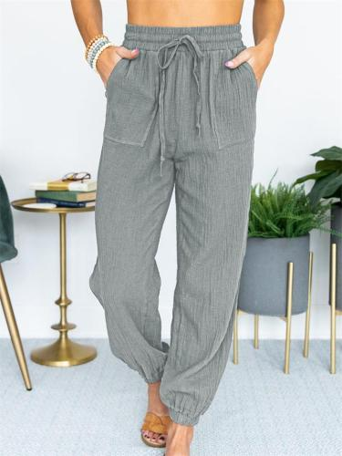Casual Solid Color High-Waist Lace-Up Cropped Trousers