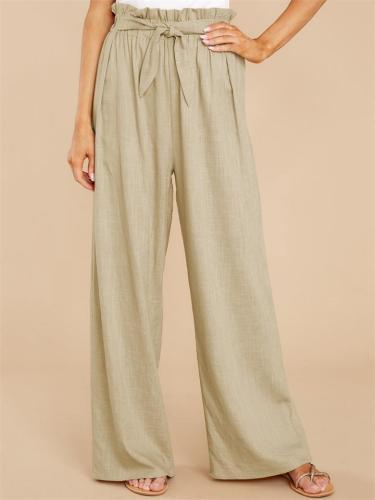 Womens Elegant Front Tie Linen Loose Pants