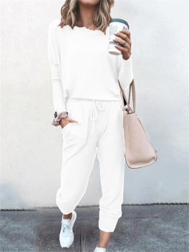 2-Piece Round Neck Loose Casual T-Shirt Lace Up Pants