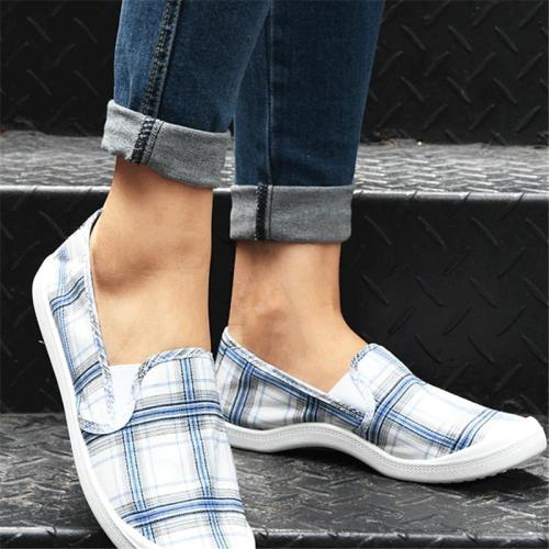 Fashion Breathable Check Pattern Casual Style Flat Heel Loafers