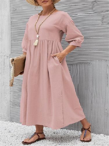 Retro Solid Color Lantern Sleeve Loose Pocket Dress