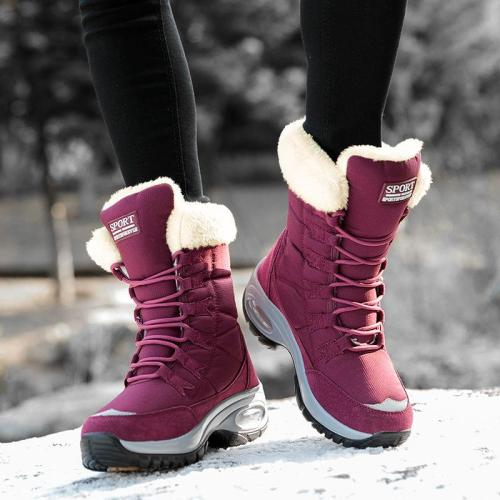 Winter Outdoor Warm High-Top Wedge Platform Lace-Up Fleece Lining Snow Boots