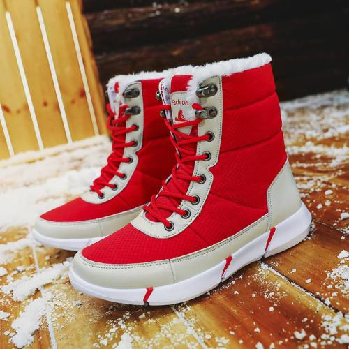Unisex Lace-Up Windproof High-Top Cotton Lining Lightweight Snow Boots