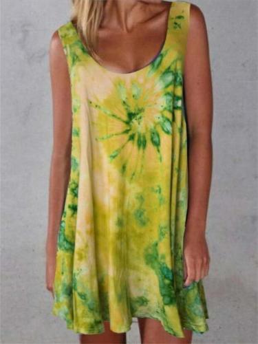 Vintage Floral Print Sleeveless Scoop Neck Tie-Dye Dress