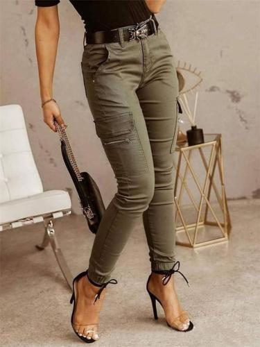 Street Style Low Waist Solid Color Pocket Cargo Pants