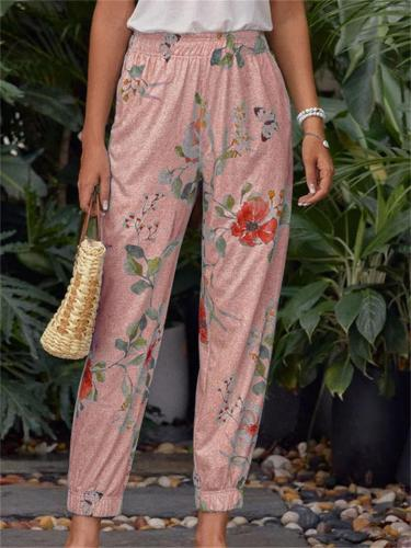 Personalized Floral Print Elastic Waist Casual Loose Pants