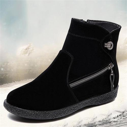Fashionable Multi-Zip Design Non-Slip Warm Boots