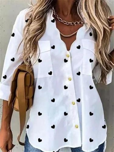 Fashion Heart-Shaped Leaf Print Button Loose Long-Sleeved Blouse