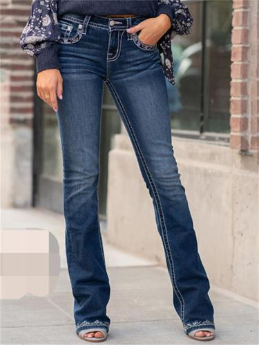 Women's Embroidered Slim Fit Flared Jeans