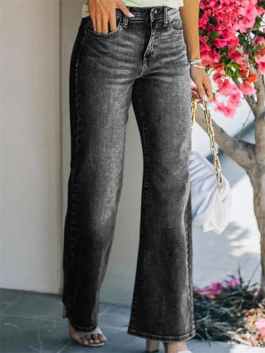 Stylish Washed-Effect Loose Wide-Leg Stretch Jeans