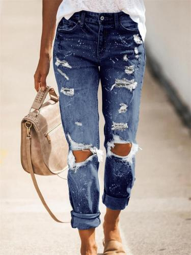Women's Stretch Wash Effect Ripped Straight-Leg Street Style Jeans