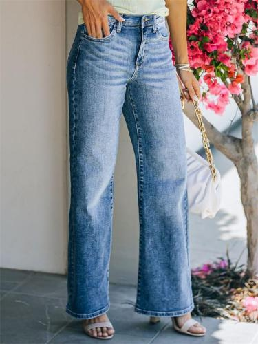 Washed Effect Mid-Rise Casual Fashion Straight-Leg Jeans