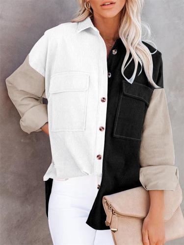 Fashion Contrast Color Corduroy Collar Loose Button Blouse