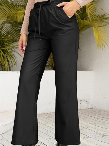 Womens Leather Pants High Waist Straight Wide Leg Trousers With Pockets