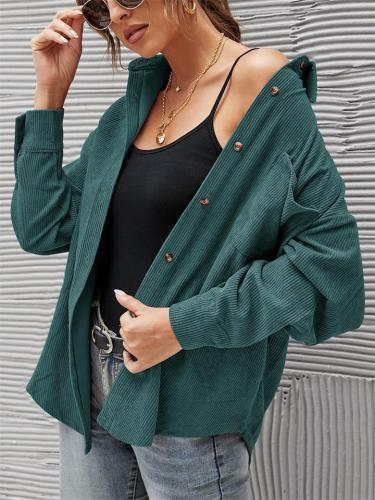 Elegant Striped Corduroy Loose Chest Pocket Collar Button Blouses