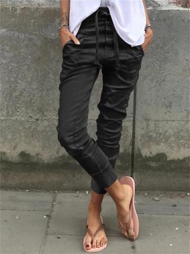 Women's Elastic Waist Front Drawstring Pocket Slim-Fit Casual Cotton Pants