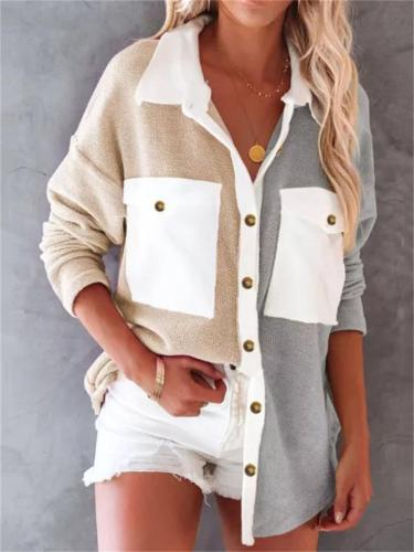 Creative Contrast Color Single-Breasted Double Chest Pocket Casual Blouse