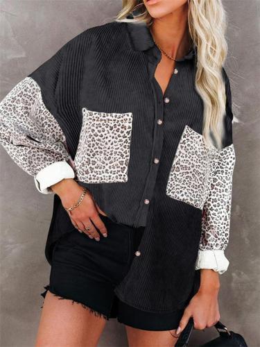 Womens Collar Corduroy Loose Color Block Leopard Print Casual Blouses