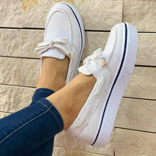 Personality Comfy Bowknot Canvas Flat Loafers