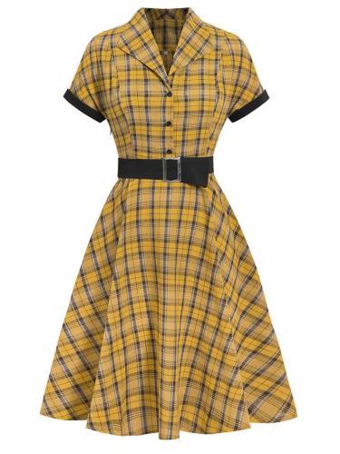 Classic 1950S Belted Plaid Lapel Swing Dress