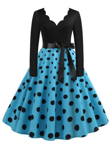 V Neck 1950S Patchwork Long Sleeve Polka Dot Swing Dress
