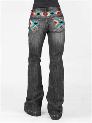 Women's Washed Effect Pocket Printed Denim Trousers