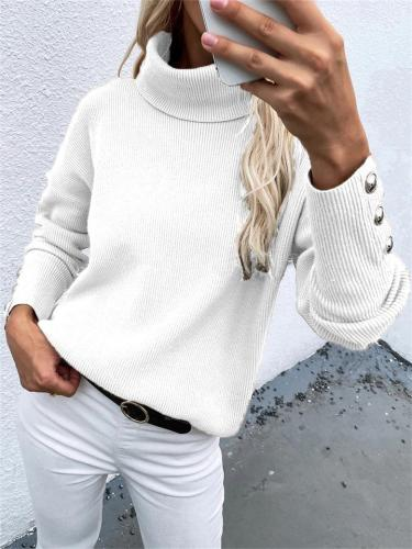 Striped Turtleneck Knitted Solid Color Casual Loose Sweater