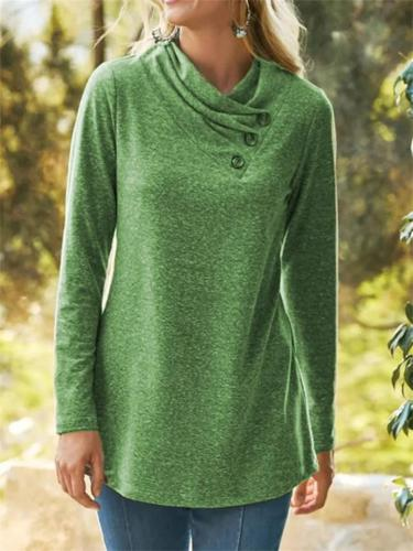Casual High-Neck Solid Color Long-Sleeved Women's T-Shirt