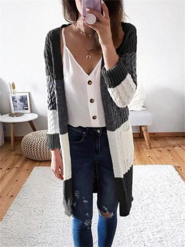 Stylish Knitted Stripe Stitching Contrast Color Design Twist Cardigan Sweater