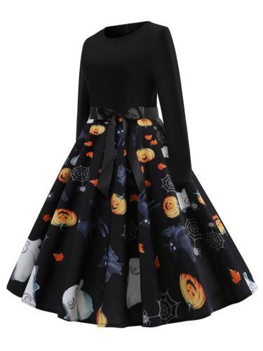 1950S Casual Pretty Halloween Pattern Swing Dress With Bowknot Belt
