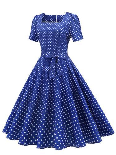 Vintage Square Neck 1950S Short Sleeve Polka Dot Slim Swing Dress