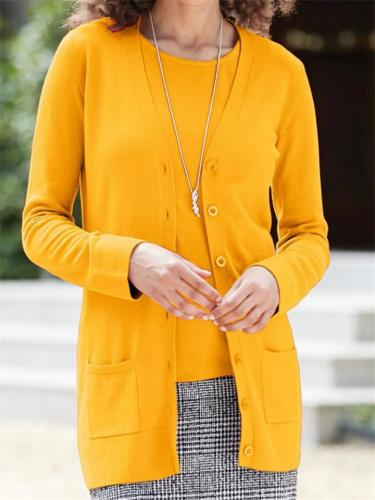 Simple Solid Color Pocket Button Casual Fashion Coat