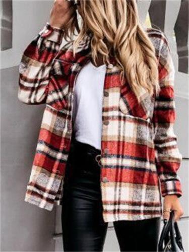 Fashion Plaid Charming Long Sleeve Breast Pocket Loose Shaket