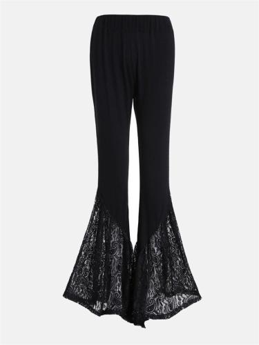 Women's Comfortable Knitted Lace High-Waist Flared Trousers