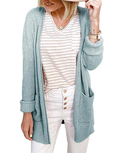 Elegant Open Front Solid Color Pocket Knitted Cardigan