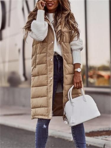Temperament Solid Color Buttoned Knee-Length Slim-Fit Hooded Vest Coats