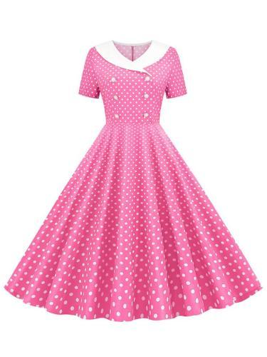 Casual 1950S Short Sleeve Polka Dot Button Swing Dress