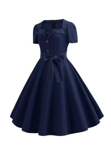 Trendy Casual Short Sleeve Square Neck 1950S Swing Dress