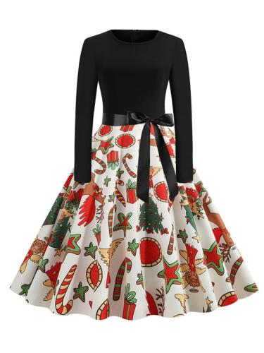 Round Neck 1950S Christmas Pattern Design Swing Dress With Bowknot Belt