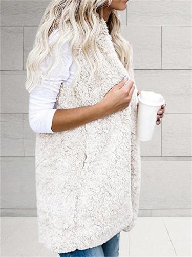 Women's Fashion Open Front Sleeveless Pocket Hooded Fuzzy Vest